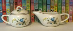 Paden City Pottery sugar and creamer set. Bluebell pattern. Blue flowers and wheat on ivory with gold. Mid Century china coffee tea by PickleladyVintage on Etsy