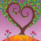A blossoming heart tree by Elspeth McLean artist does a lot of pointalism art