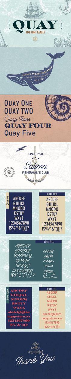 Quay Font Bundle & Bonus Logos #truetypefont #swash #nauticallogo #dock #VintageFont #typeface #marlin #fish #alphabet #brewery #scriptfont #swash #fontbundle #nauticallogo #galleyfont #sailorfont #bundle #navy #FontDesign Slab Serif Fonts, Typography Fonts, Typography Design, Logo Design, Graphic Design, Truetype Fonts, Nautical Logo, Hipster Fonts