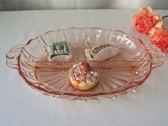 Pink Depression Glass Relish Dish Serving Dish
