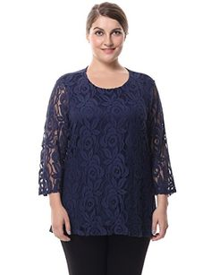 f9fbe439a98 Chicwe Women s Lined 3 4 Sleeves Plus Size Lace Top Blouse M
