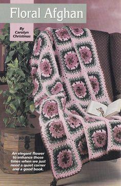 Floral Afghan Crochet Pattern  Granny Square por PaperButtercup, $3.50