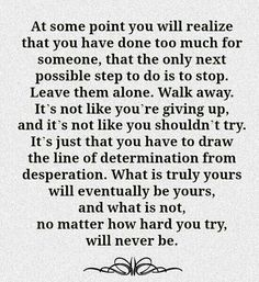 Trying to walk away is easier said than done