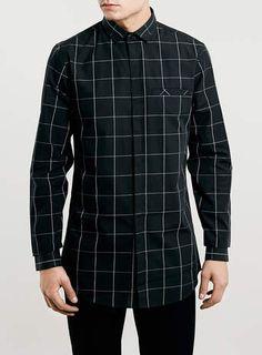 Black Check Longline Shirt