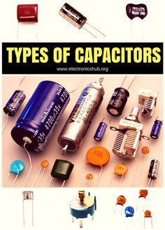 Types of Capacitors. remember my grandma tearing apart the tv and checking tubes. Sometimes it worked sometimes not. Electronic Circuit Projects, Electrical Projects, Electronic Engineering, Arduino Projects, Electrical Engineering, Engineering Symbols, Hobby Electronics, Electronics Components, Electronics Gadgets