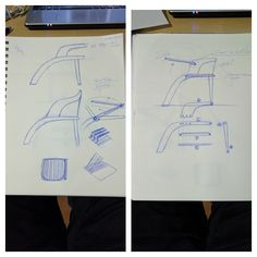 Currently exploring different design capabilities through scaled sketches. Mainly surrounding the upper portion of the chair, including the arm rest, back rest and possibly desk integration...? I'm currently also working out how many different parts the chair consists of for assembly reasons.
