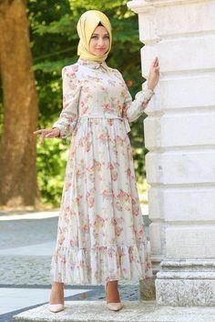 HEWES LINE - Hewes Line - Etek Ucu Fırfırlı Bej Tesettür Elbise 594BEJ