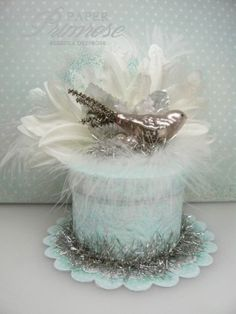 aqua and white, hand crafted gift box with bird
