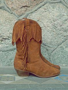 Fringe Cowboy Boots // Tan Leather Coyboy Boots