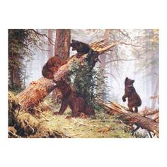 Customizable #Baby #Bear #Beautiful #Brown #Color #Colorful #Cub #Fallen #Forest #Leaves #Log #Mother #Nature #Old #Public#Domain #Scene #Spring #Tree #Vintage #Wood Bears in the Woods Canvas Print available WorldWide on http://bit.ly/2hpHTmY