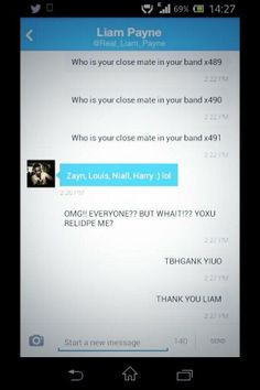 Liam's DM to a fan. This is so sweet :)