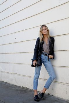 Denim and loafers are fall classics. Lucy Williams of the blog Fashion Me Now wears Tibi's Denni Loafers.