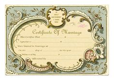 Keepsake Marriage Certificate Vintage French Frame - Free Printable