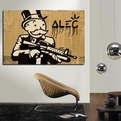 Alec Monopoly Money Cartoon American Style Canvas Oil Painting Spray Frameless Unframed Waterproof not handmade Realistic