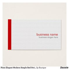 Plain Elegant Modern Simple Red Stripe on White Business Card #Plain #Elegant #Modern #Simple #RedStripe#White #Business #Card #businesscard