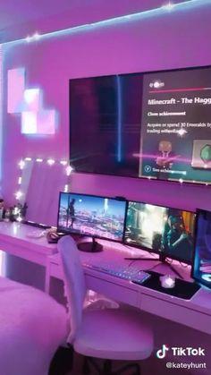 Gamer Bedroom, Neon Bedroom, Bedroom Setup, Room Ideas Bedroom, Bedroom Decor For Teen Girls, Girl Bedroom Designs, Tech Room, Game Room Design, Aesthetic Room Decor