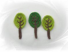 Häkelapplikationen - Baum Aufnäher - Bäume Häkelapplikation, Baum Applikation