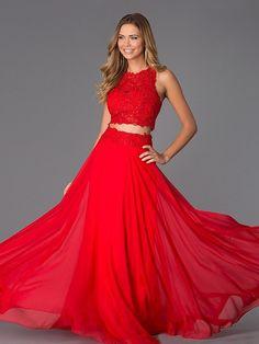 A-Line/Princess Jewel Sleeveless Lace Floor-Length Chiffon Dresses