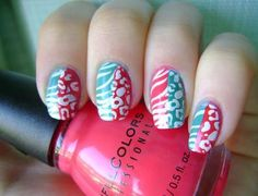 two colors and two animal prints in one nail design... what will people think of next?