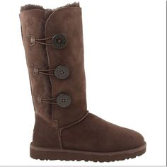 UGG Australia Pre-owned Ugg Australia Ugg Bailey Button Triplet Sz 8... ($165) ❤ liked on Polyvore featuring shoes, boots, chocolate, chocolate brown boots, button shoes, chocolate brown shoes, ugg® australia boots and ugg® australia shoes
