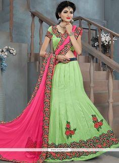 Mod Resham Work Green Lehenga Choli Model: YOLEN4243