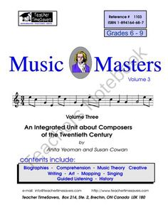 Music History:  Music Masters 3  from Teacher Timesavers on TeachersNotebook.com -  (118 pages)