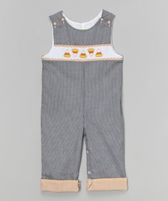 This Black Gingham Candy Corn Smocked Overalls - Infant & Toddler by Stellybelly is perfect! #zulilyfinds