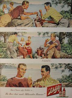 Propaganda da Cerveja Schlitz com contexto homossexual em 1948.