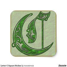 Letter C Square Sticker #Alphabet #Letter #Embossed #Art #Square #Sticker