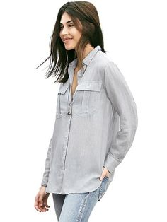 Banana Republic Womens Soft Wash Textured Military Shirt Size L - Gray texture from Banana Republic on Catalog Spree