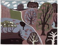 View with a Fallen Tree By Melvyn Evans; Linocut Image size: x Edition size: 150 copies Evans Art, Quirky Art, Art Prints For Sale, Landscape Prints, Landscape Art, Linocut Prints, Autumn Trees, Graphic Illustration, Illustrations