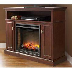 Ashley Electric Fireplace Media Console in Espresso - ASHLEYC23-ESP