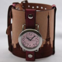 Leather cuff watch with paris engraving