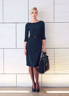 Dress For Work Business Workwear Navy Blue 30 Ideas Simple Elegant Dresses, Trendy Dresses, Casual Dresses, Fashion Dresses, Dresses For Work, Office Outfits Women, Office Fashion Women, Work Outfits, Vintage Dress Patterns