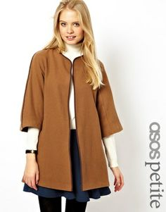 ASOS PETITE Exclusive Cape Jacket in Camel