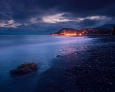 Winter in Crimea. The city named Alushta on the shore of the Black Sea.