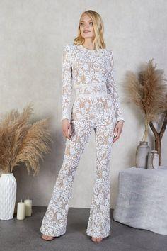 White Lace Jumpsuit, Sequin Jumpsuit, Wedding Jumpsuit, Jumpsuits For Girls, White Bridal, Bridal Outfits, Girl Fashion, Drama, Romance