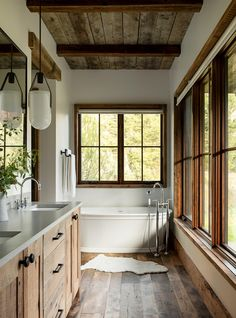 Is rustic your style when it comes to home design? Mixing metals woods and stone creates this rustic vibe in this. Bad Inspiration, Bathroom Inspiration, Cabin Design, House Design, Cabin Interior Design, Design Bedroom, Cabin Bathrooms, Rustic Cabin Bathroom, Rustic Lake Houses