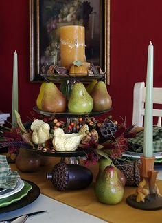 Happy To Design: Autumn Pears...A Thanksgiving Table -- an interesting way to use those frosted pears and apples...