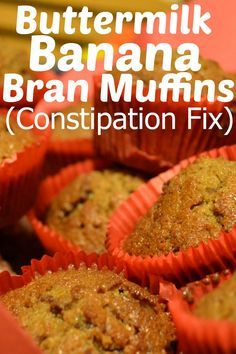 Buttermilk Banana Bran Muffins constipation fix These muffins do a great job of getting things moving again. They are soooo delicious! We eat them as a breakfast on the go option all the time just because we love them! The buttermilk make Banana Bran Muffins, Buttermilk Muffins, Buttermilk Recipes, Banana Bread, Healthy Muffin Recipes, Healthy Muffins, Baby Food Recipes, Cooking Recipes, Toddler Recipes