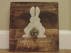 Happy Easter Wood Pallet Sign with Bushy Tail Stained Painted and Antiqued Perfect Decor for Easter Shabby Chic Rustic Chic by MadeByFreckles on Etsy