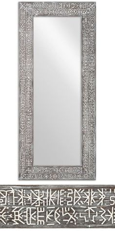 This big mirror in a wooden ethnic frame draws the eye and evokes unusual associations. This is the result of our workshop's collaboration with the famous artist Eugene Bam, who lives in Bali. Its aged surface is covered with hieroglyphs, of which none is repeated in the series along the whole length of the frame. #ETNIQ #bam_mirror #boho_mirror Large Wooden Mirror, Entry Mirror, Traditional Mirrors, Custom Mirrors, Graphic Patterns, Famous Artists, Pattern Making, Oversized Mirror, African