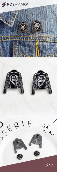 🆕 Best Friends Motorcycle Jacket Enamel Pin Set Show some love to your denim or leather AND to your gal pal.  This pin set is cute and a fashion must have for flair.  - These pins are made from enamel and metal. - Each half measures approximately 1.25 inches in length and approximately .75 inches wide. - These pins come with a metal backing. - This set has two pieces. Jewelry Brooches