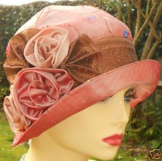 1920s Vintage Inspired Terracotta Silk Cloche Hat Flapper Gatsby Downton | eBay