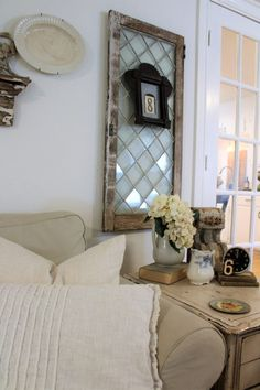 The Queen of Pretty Things – just plain jilly blog post diamond pane window, vintage style, slipcovers, IKEA sofa, hydrangeas, ironstone, cottage, cottage style