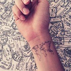 3b69b226f3c0 World Map Love Travel Wrist tattoo - InknArt Temporary Tattoo - wrist quote  tattoo body sticker fake tattoo wedding tattoo small tattoo by Danielle 5026