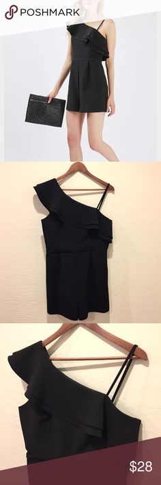 "Topshop Black Ruffle One-Shoulder Playsuit Romper Grab this lovely Topshop Black Ruffle One-Shoulder Playsuit Romper! Women's size 10. New without tags. Side hidden zipper. Approximate measurements given below:  Length: 32"" Bust: 18"" Waist: 16"" Material: 95% polyester 