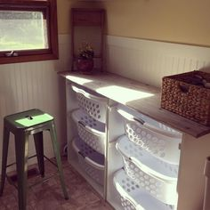 You know you're a grown up now when you are still super excited about the laundry folding station you made, free plans http://www.ana-white.com/2010/11/laundry-basket-dresser
