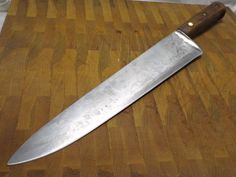 "vintage Forged Carbon Steel RAZOR SHARP Clyde Cutlery 12"" Blade BIG Chef Knife #ClydeCutleryOhio"