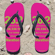 554054c7d 26.2 Math Miles on Fuchsia Flip Flops - Kick back after a marathon with  these great flip flops! Fun and functional flip flops for all marathoners.